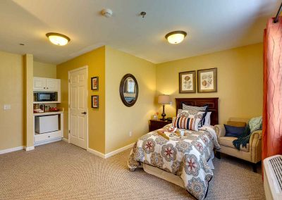 A furnished studio bedroom at The Pinnacle of Oxford