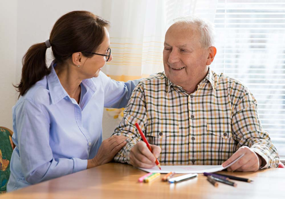 Memory Care Patient and Caretaker Drawing - The Pinnacle of Oxford