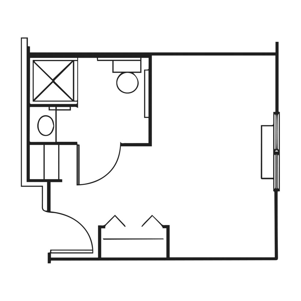 Wireframe of a private suite.