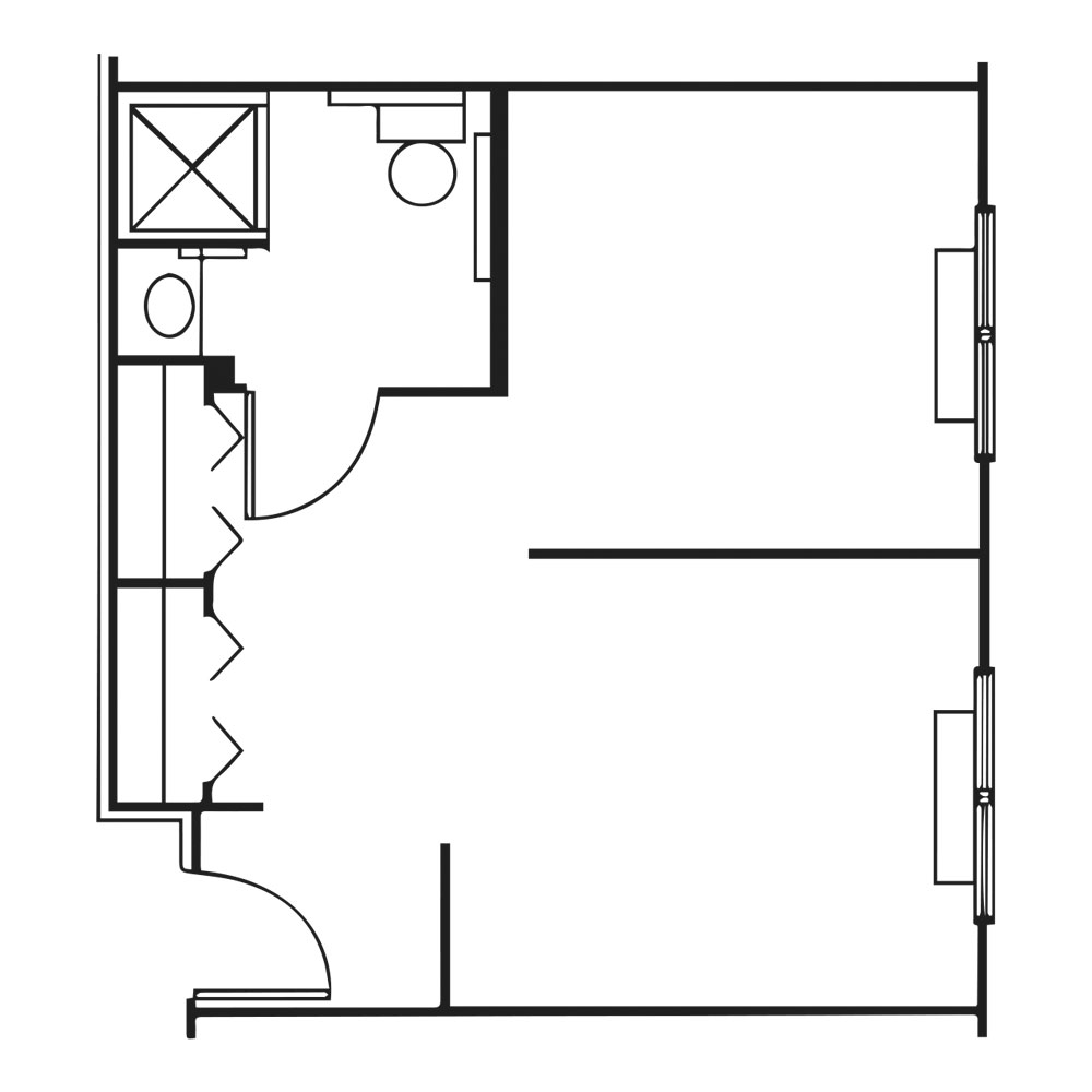 Wireframe of two bed room suite